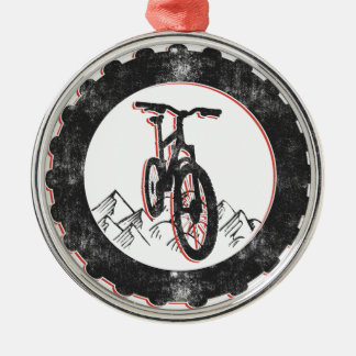 Mountain Biking Metal Ornament