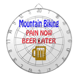 Mountain Biking pain now beer later Dartboard With Darts
