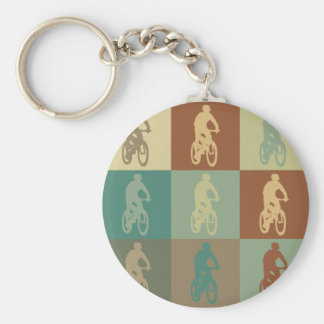 Mountain Biking Pop Art Keychain
