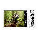 Mountain Biking Postage Stamp
