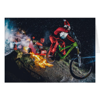 Mountain Biking Santa Christmas Card