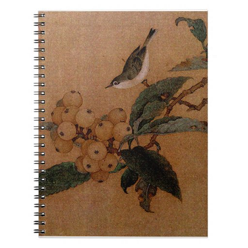 Mountain bird and loquats spiral note book