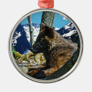 Mountain Black Wolf Resting by Trees Wildlife Art Metal Ornament