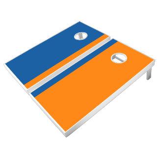 Mountain Blue and Orange Add Your Logo Cornhole Set