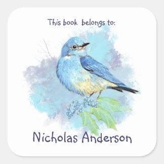 Mountain Bluebird Bird book belongs Bookplate Square Sticker