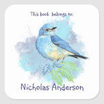 Mountain Bluebird Bird book belongs Bookplate Square Sticker