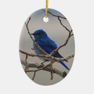 Mountain Bluebird Double-Sided Oval Ceramic Christmas Ornament