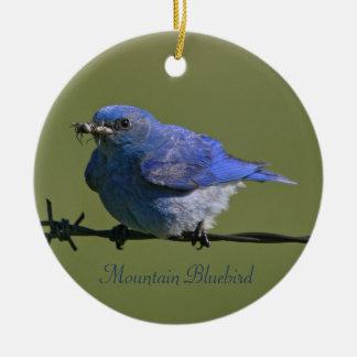 Mountain Bluebird Photography Round Ceramic Ornament