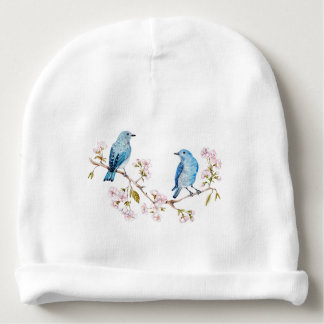 Mountain Bluebirds on Sakura Branch Baby Beanie