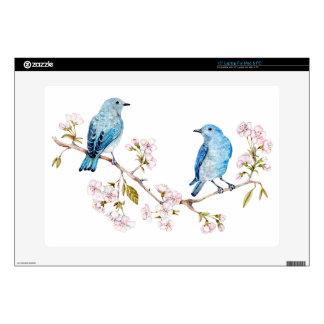 Mountain Bluebirds on Sakura Branch Skin For Laptop