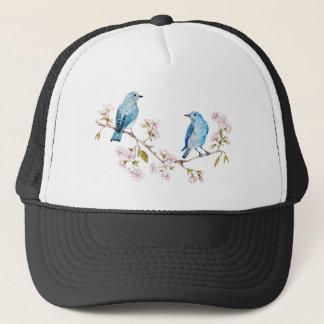Mountain Bluebirds on Sakura Branch Trucker Hat
