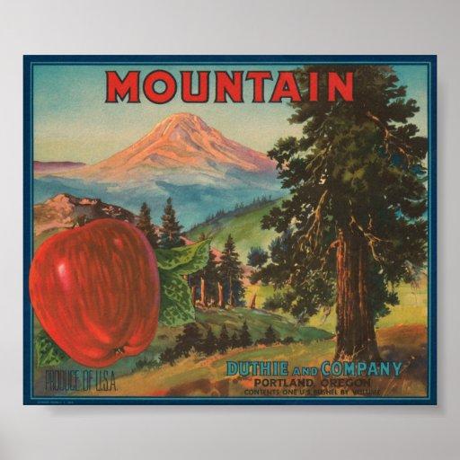 Mountain Brand Duthie y Cr de Apple del vintage de Póster