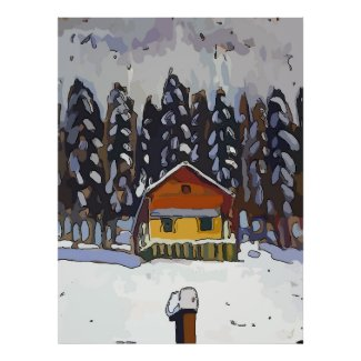 Mountain Cabin In Snow Posters