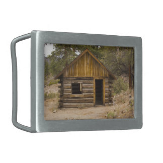 Mountain Cabin Rectangular Belt Buckle