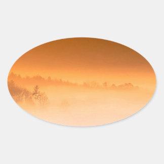 Mountain Cades Cove Sunrise Great Smoky Tenne Oval Sticker