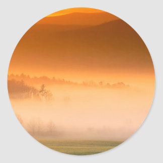 Mountain Cades Cove Sunrise Great Smoky Tenne Round Stickers