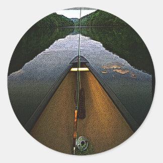 Mountain Canoe Fishing Round Stickers