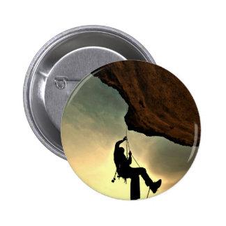 Mountain climber beautiful scenery 2 inch round button