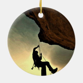 Mountain climber beautiful scenery Double-Sided ceramic round christmas ornament