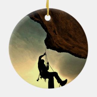 Mountain climber beautiful scenery christmas tree ornament