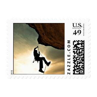 Mountain climber beautiful scenery postage