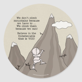 Mountain Climber Classic Round Sticker
