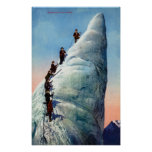Mountain Climbers Attempting to Ascend a Serac Poster
