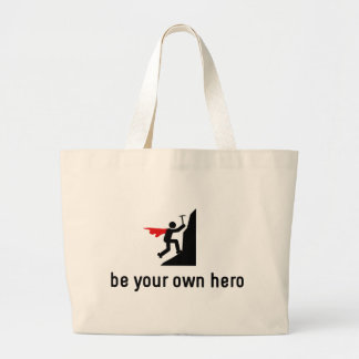 Mountain Climbing Hero Large Tote Bag
