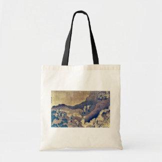 Mountain climbing pilgrims by Katsushika, Hokusai Canvas Bag