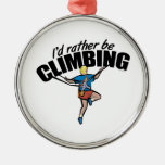 Mountain Climbing Round Metal Christmas Ornament