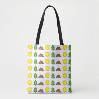 Mountain Climbing Sun Mountains Trees Camp Tote