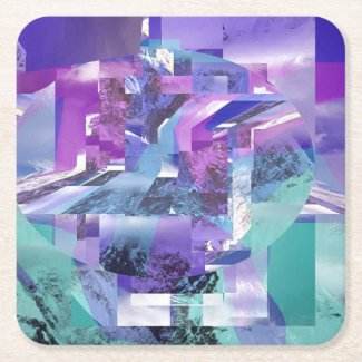 Mountain Coaster Square Paper Coaster