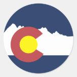 Mountain Colorado Flag Round Sticker