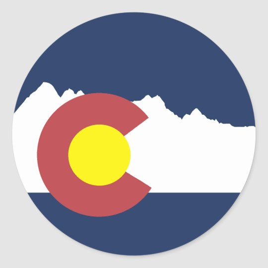 Mountain colorado flag round sticker