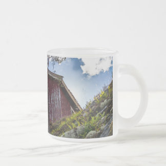 Mountain cottage frosted glass coffee mug