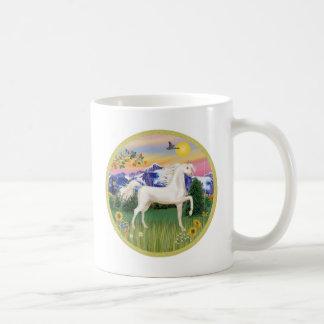Mountain Country - White Arabian Horse Coffee Mug