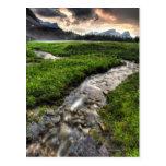 Mountain creek descends through meadow toward postcard