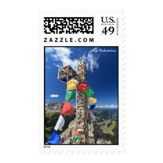 mountain cross with flags stamps