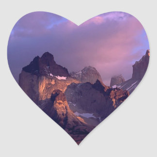 Mountain Cuernos Del Paine los Andes Chile Pegatina En Forma De Corazón