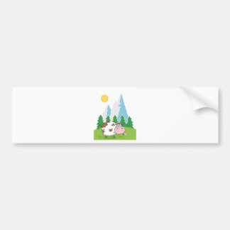 Mountain Dairy Cow With Flower In Mouth Bumper Sticker