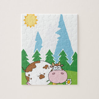 Mountain Dairy Cow With Flower In Mouth Jigsaw Puzzle