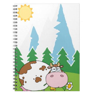 Mountain Dairy Cow With Flower In Mouth Spiral Note Book