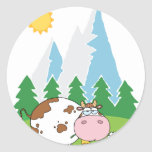 Mountain Dairy Cow With Flower In Mouth Classic Round Sticker