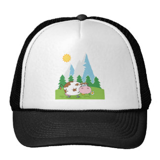 Mountain Dairy Cow With Flower In Mouth Trucker Hat