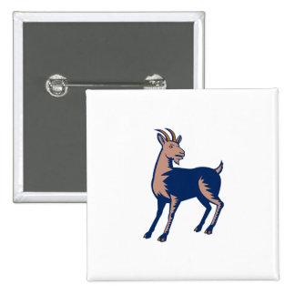 Mountain Domestic Goat Woodcut 15 Cm Square Badge