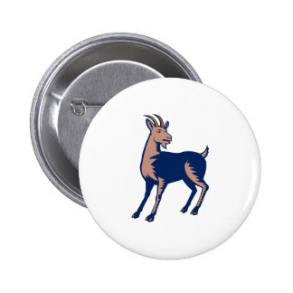Mountain Domestic Goat Woodcut 6 Cm Round Badge
