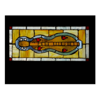 Mountain Dulcimer - Stained Glass - Postcard