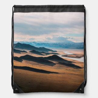 mountain dusk drawstring backpack