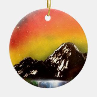 Mountain Falls Ceramic Ornament