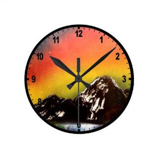 Mountain Falls Round Clocks